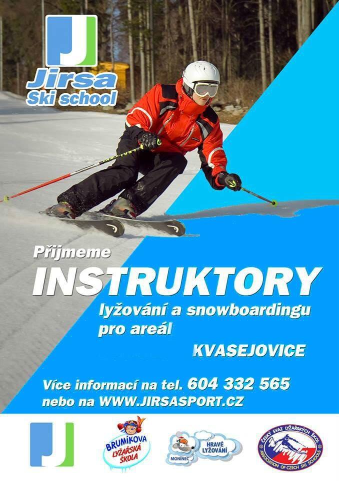 Hledáme lyžařské instruktory - Jirsasport Ski Kvasejovice nedaleko Prahy